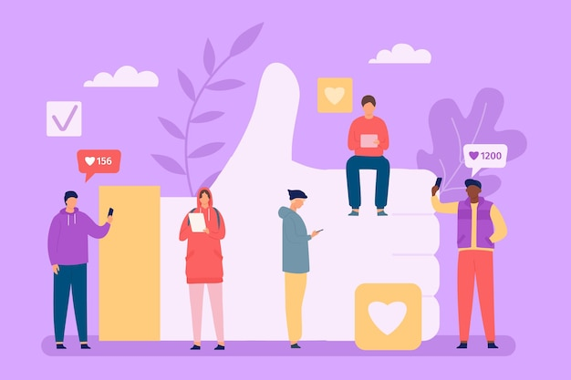 People addicted to like. group of characters checking social media in phones and gadgets. addiction to internet and feedback vector concept. thumb up for approval. network users with devices