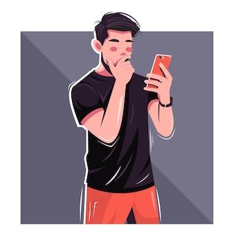 People addicted to social media flat vector illustration