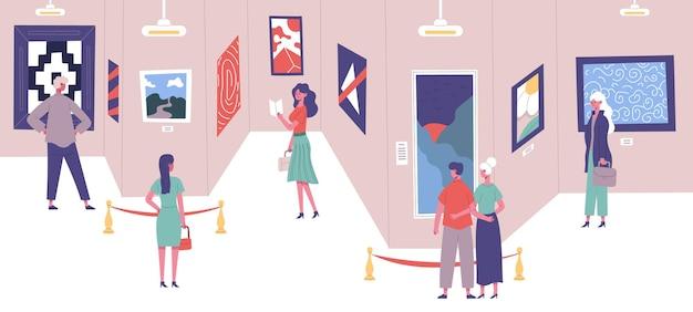사람들은 고전 미술 갤러리 그림 전시회에 감탄합니다. 아트 갤러리 박람회 여행 방문자 벡터 일러스트 레이 션. 남녀 문화 교육