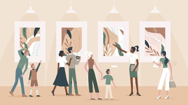 Люди любуются картинами в музейной иллюстрации