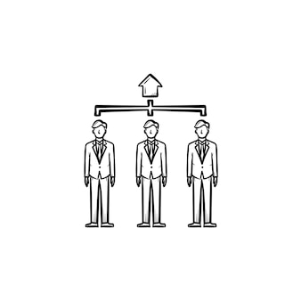 People, agents hand drawn outline doodle vector icon. group of people, workforce sketch illustration for print, web, mobile and infographics isolated on white background.