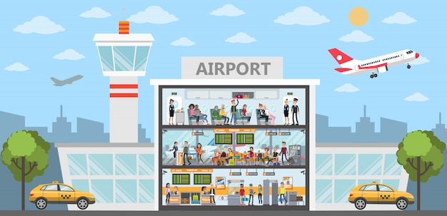 People at the airport building. city exterior with airplanes and terminal.