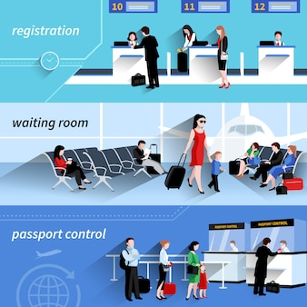 People in airport horizontal banners set with waiting room elements isolated