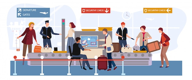 People in airport  illustration, cartoon  man woman travel characters with baggage passing through scanner and security checkpoint