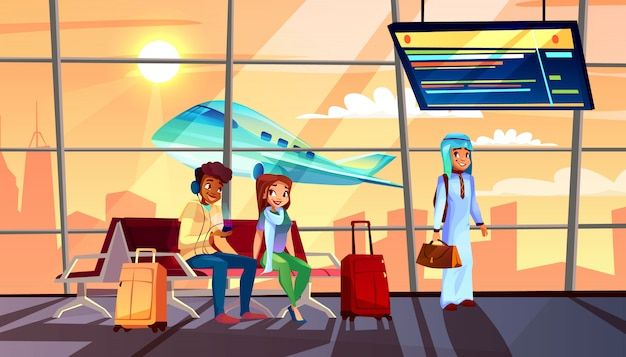 People in airport illustration of departure or arrival terminal flight schedule and airplane