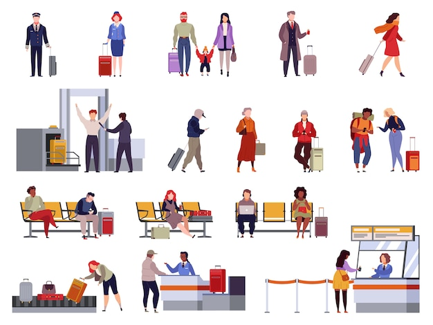 People airport set. family travel registration passport control checkpoint security airport terminal luggage passenger isolated