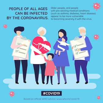 People of all ages can be infected by the coronavirus social template source who vector