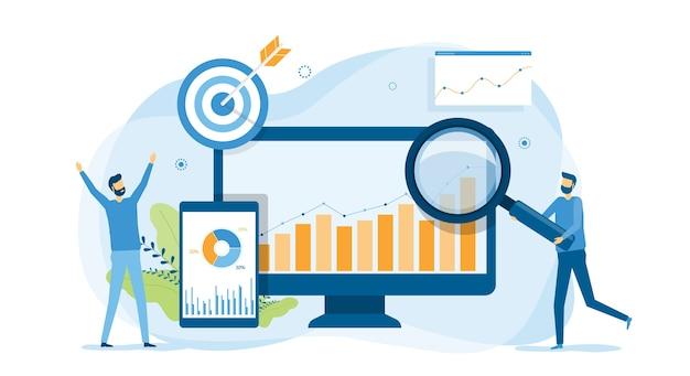 Аналитика и мониторинг людей на концепции монитора панели инструментов веб-отчетов