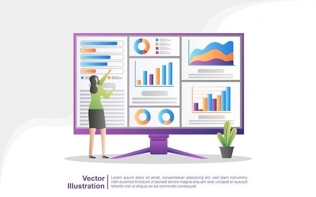 People analyze chart movements and business development