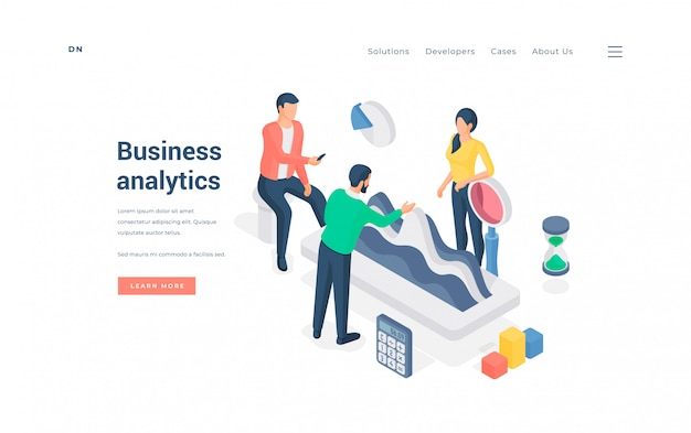 ビジネスデータを一緒に分析する人々。広告ウェブサイトのバナーにビジネス分析会社を代表しながらグラフを調べて議論する人々の等尺性グループ