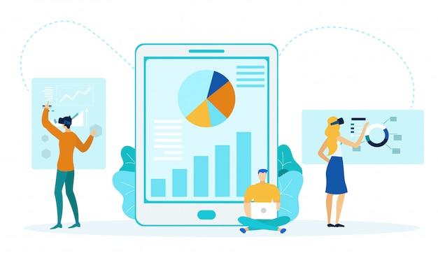 People analyzing charts flat illustration