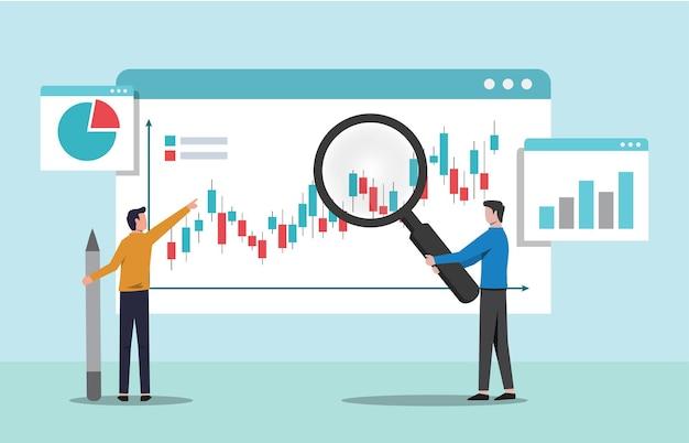 Люди, анализирующие концепцию диаграммы роста. анализ данных и мониторинг инвестиций векторные иллюстрации