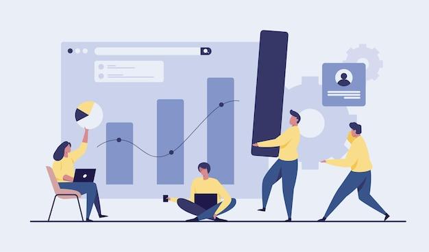 成長チャートを分析する人々。ビジネスイラスト。