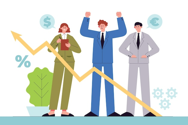 成長チャートを分析する人々