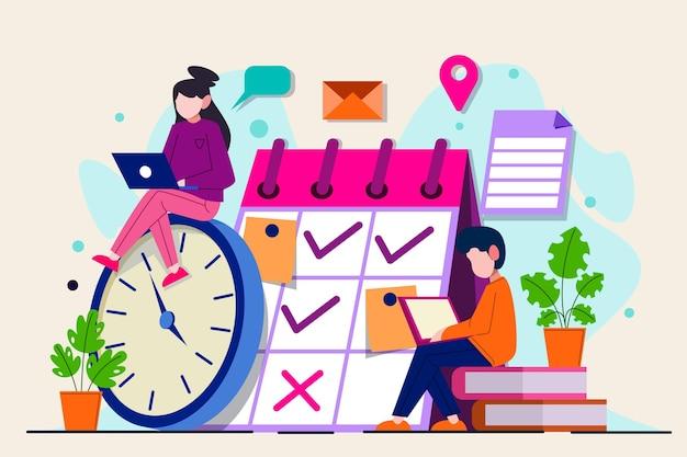 人とカレンダーの時間管理の概念
