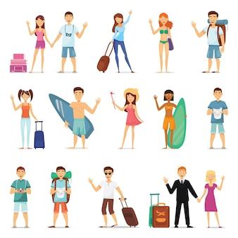 Путешествие людей и пар, серфинг, отдых, походы.