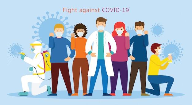 Люди и доктор, носящие борьбу маски лица против covid-19, болезнь коронавируса, здравоохранение и безопасность