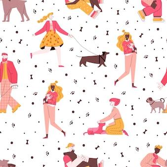 犬を抱いたり歩いたりするペットの飼い主の人と犬のシームレスなパターン