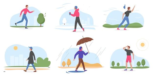 Люди и четыре сезона устанавливают мультяшный молодой человек, идущий зимой, летом, весной, осенью
