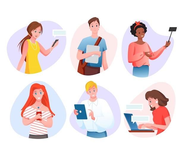 사람과 도구. 스마트 폰, 태블릿 또는 노트북으로 모바일 기기를 사용하는 행복한 젊은 캐릭터