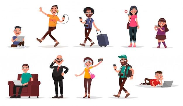 사람과 도구. 모바일 장치를 갖춘 어린이, 청소년 및 성인 세트.