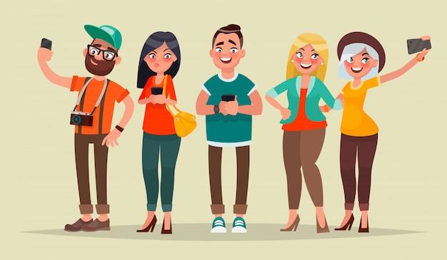 Люди и гаджеты. векторная иллюстрация в мультяшном стиле