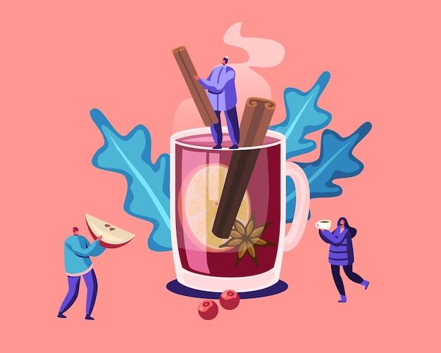 Люди и концепция горячего напитка. мультфильм плоский рисунок