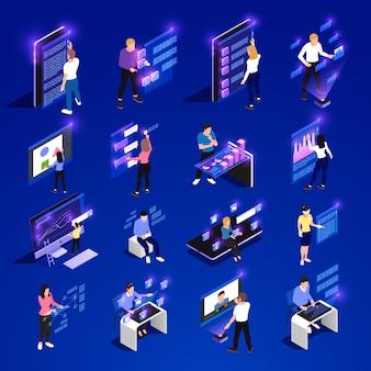 Люди и интерфейсы светятся изометрической значок набор с облачными интерфейсами vr абстрактные умные элементы векторная иллюстрация