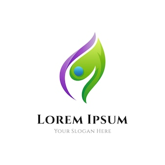 Люди и листья логотип с градиентным цветовым стилем
