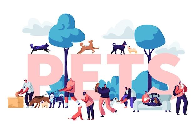 人とペットのコンセプト。犬や猫と屋外で歩く、リラックス、レジャー、男性と女性のキャラクター