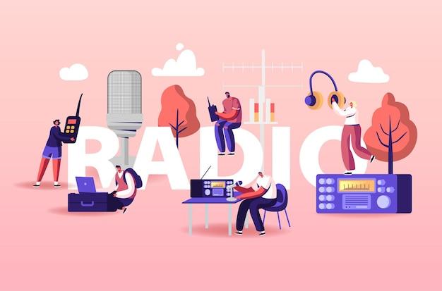 Люди и радио иллюстрации Premium векторы