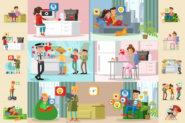 人とソーシャルネットワークの水平パンフレット