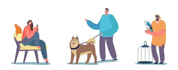 人々とそのペット、ひもにつないでハスキーの子犬と幸せな陽気な男、猫と一緒に自宅の椅子に座っている女性。オウムとケージを持つ男性キャラクター、動物への愛。漫画の人々のベクトル図