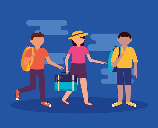 Люди и путешествия в плоском стиле