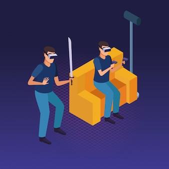 사람과 가상 현실 안경 기술