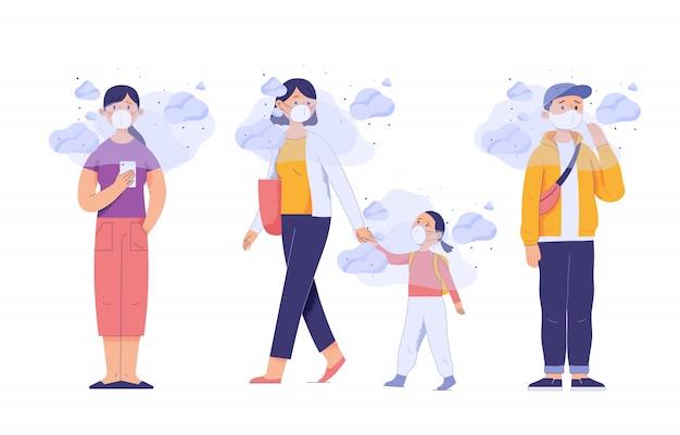 건강에 해로운 도시 오염 때문에 사람들과 어린 아이들이 얼굴에 마스크를 쓴다