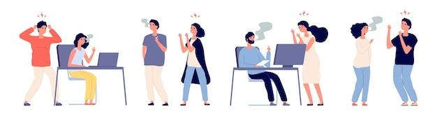 Люди злятся на курильщиков. вредная привычка, курильщики и некурящие люди. курильщик мужских и женских персонажей в офисе иллюстрации