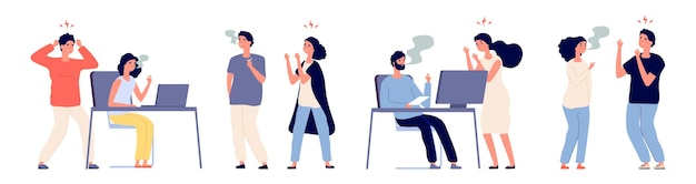 People angry with smokers. bad habit, smokers and non-smoking people. male and female characters smoker in office illustration