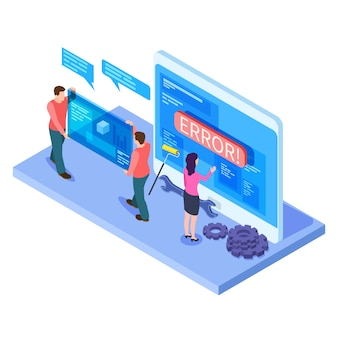 People and app interfaces isometric . developers work with mobile computer ui