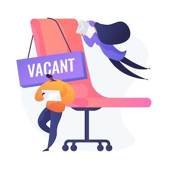 空いている仕事に応募する人。ビジネス競争、利用可能な空席広告、ポジション申請。競合する労働者の漫画のキャラクター。