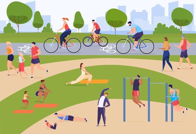 사람들은 적극적으로 시간을 보내고 있습니다. 공원에서 스포츠, 조깅, 자전거 타기, 운동장. 플랫 만화 스타일의 다채로운 그림입니다.
