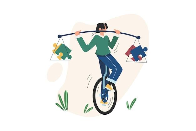 사람들은 외발 자전거에서 퍼즐 균형을 맞추고 있습니다.