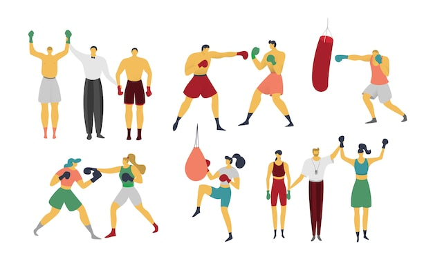 People are boxing, kickboxing, illustration isolated on white, boxer is training, beats punching bag, sportsmen characters in flat style.