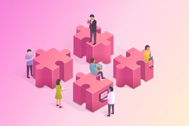 People are building a business on the internet. isometric illustration.