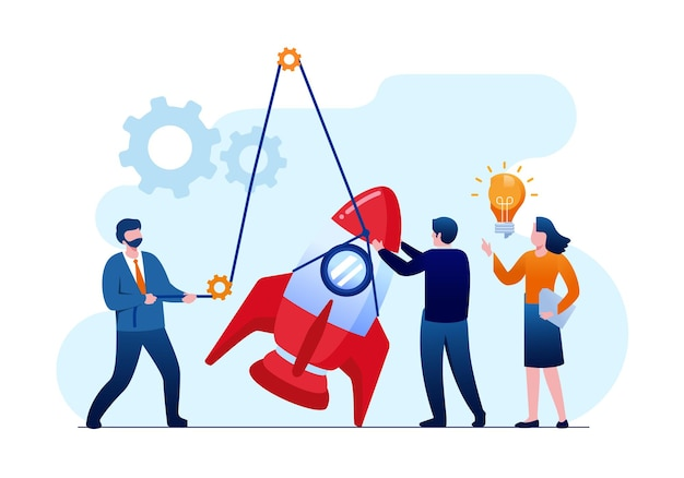 People are building a spaceship rocket. teamwork in the startup. flat vector illustration