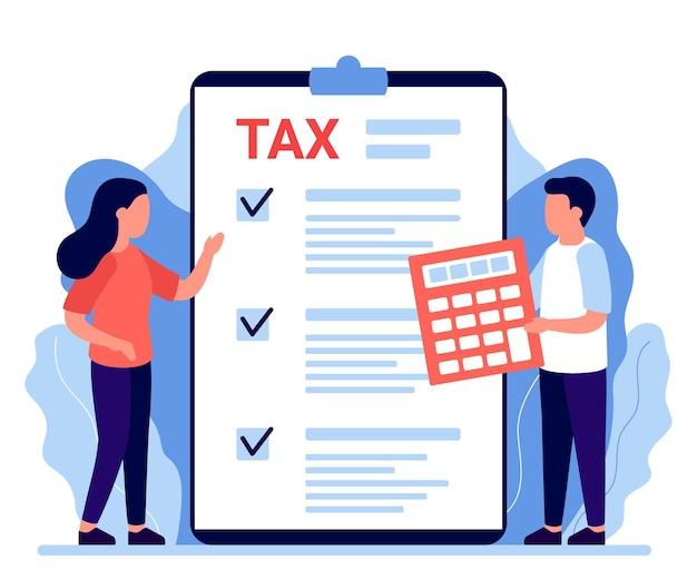 사람들은 세금을 계산하고 있습니다. 법률, 세금 보험에 지불하는 수수료. 금융 수수료, 의무 지불 계산, 비용. 개인 소득세, 세금, 신용. 평면 그림
