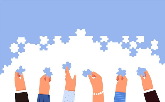 People are folding the puzzle. hands hold the details of the puzzle. the concept of successful teamwork. business cooperation. cartoon flat . isolated on a white background.