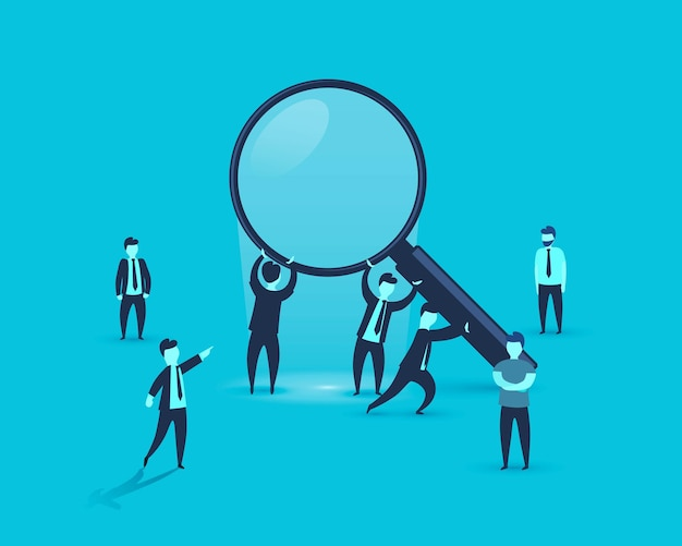 People are holding a magnifying glass business. vector illustration