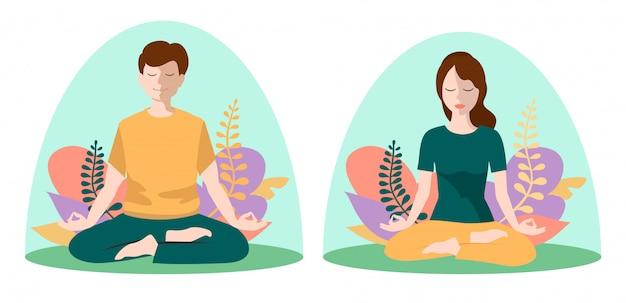 Люди интроверты. молодая женщина и мужчина, сидя внутри прозрачного стекла. понятие отделения от общества, социальной изоляции или одиночества, асоциальной личности. медитация, женские и мужские персонажи.