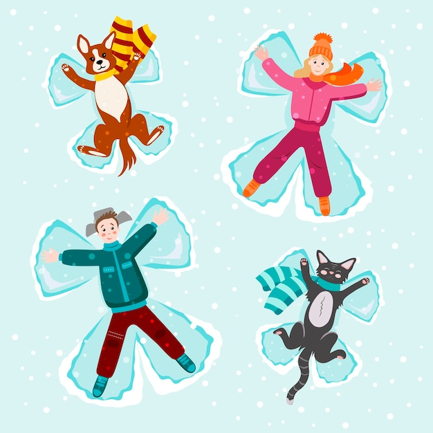 People are lying in the snow with a dog and a cat. making angels with snow. snow angel concept. vector greeting card template with happy people and funny pets.